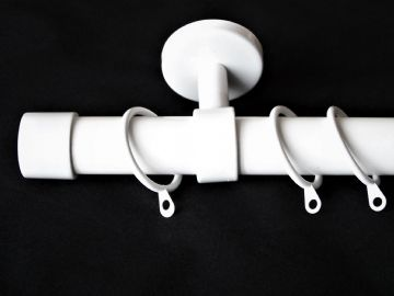 28mm Gloss White Ceiling Hung Curtain Pole with End Cap Finials 1.2m 1.5m 2.4m 3m